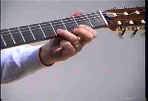 Guitarist is shown pressing a string down onto a fret